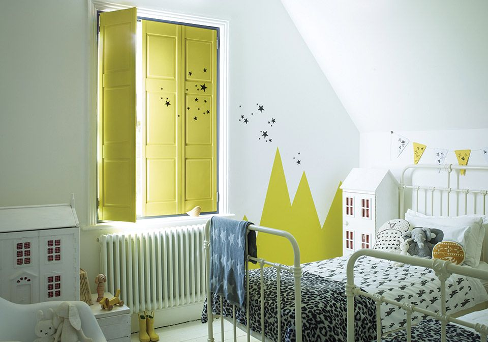 Solid Yellow Shutters For A Childu0027s Bedroom